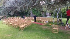Almost ready for the Bride with our Wooden Folding Chairs