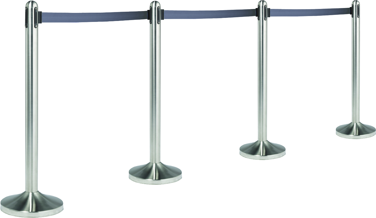 Chrome Stanchion Post With Retractable Belt Black