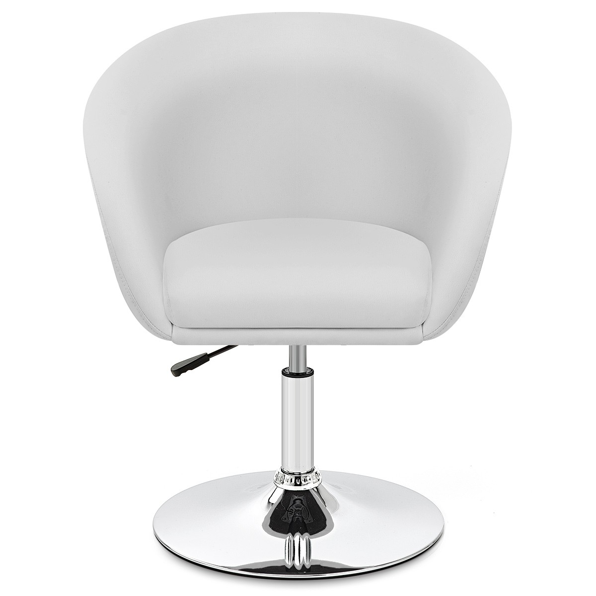 Leather Tub Chair White Swivel Trumpet Base Higgins Ie